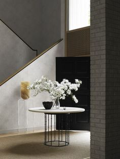 """The Astor Table with its 48"""" Honed San Giorgio Limestone Top by Hickory Chair"""