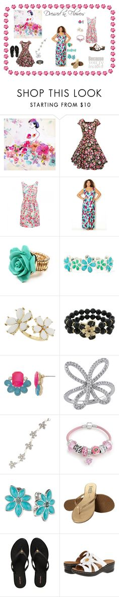 Dressed in Flowers by pathbunny on Polyvore featuring Avenue, Forever New, Henri Bendel, Tkees, Clarks, Anne Klein, Bling Jewelry, 1928, Liz Claiborne and Carolee