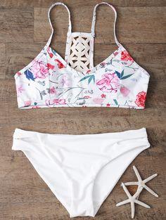 Low Rise Floral Bikini Set - WHITE M