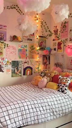 Indie Room Decor, Cute Bedroom Decor, Room Design Bedroom, Room Ideas Bedroom, Neon Room Decor, Funky Bedroom, Study Room Decor, Bedroom Inspo, Pinterest Room Decor