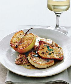 Pork with sauteed Granny Smith apples.