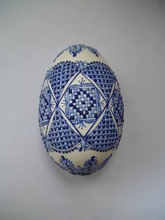 1 Romanian Romania pysanky pysanka hand made decorated waxed real GOOSE egg blue #egg