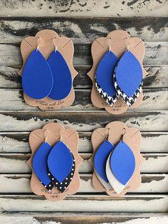 Royal Blue Tier Leather Earrings - Handmade Earrings - Faux Lightweight Earrings - Kansas City Royals Earrings