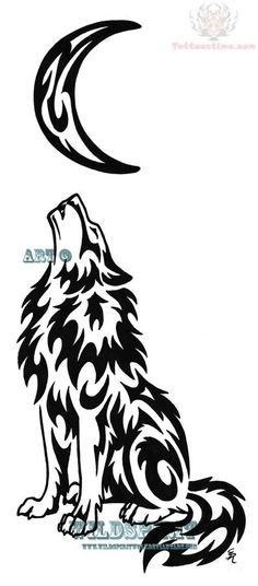 wolf and moon tattoo design