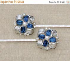 SALE Vintage Sapphire Navy Blue Rhinestone & by hangingbyathread1