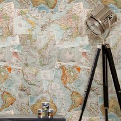 Wallpaper :: Milton & King Wallpaper Books :: Kemra - 41 Designs :: Vintage French Maps - Ivory Tower Decor