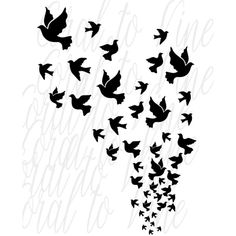 doves svg bird feather svg dove flock cut file feather bird svg dove... ($2) ❤ liked on Polyvore featuring home, home decor, bird home decor and black home decor