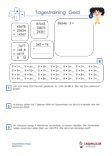 """#Tagestraining #Geld #Euro  4.Klasse #Arbeitsblaetter  #Uebungen  #Aufgaben für den Mathematikunterricht -  Grundschule.  Es handelt sich um Tagestrainings - Geld - Arbeitsblätter aus der 4.Klasse, zum Vertiefen der Rechenfertigkeit.  Verschiedene Übungen wie """"Plus, Minus, Division, Multiplikation, Geldbeträge ergänzen, Ordne die Geldbeträge nach der Größe"""" und jeweils 3 Textaufgaben sind auf einem Übungsblatt.  10 Arbeitsblätter +  10 Lösungsblätter mit ausführlichen Lösungswegen."""