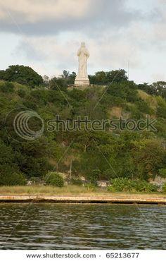 Statue of Christ overlooking harbor at Havana