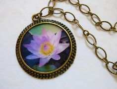 Pink Water Lily Photo Pendant by Little Visions Photo & Jewelry Art ~ www.annwidner.etsy.com