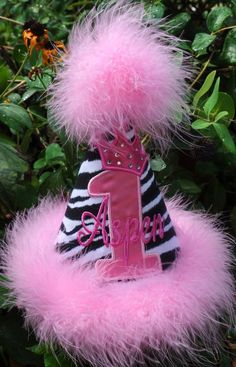 First Birthday Hat except with purple instead of pink of course..very fitting for my Sophia
