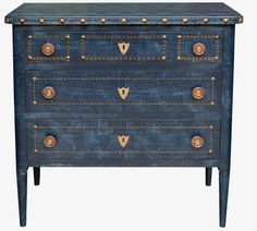"""moissonnier - L.XVI """"Gabriel Fauré"""" CHEST-OF-DRAWERS Three drawers, marble or wooden top."""
