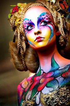 Maquillaje y vestuario impecable en Cirque du Soleil. – Hobbies paining body for kids and adult Face Painting Supplies, Art Visage, Fantasy Make Up, Dark Fantasy, Foto Fashion, Fashion Art, Make Up Art, Painted Ladies, Creative Makeup