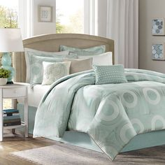 Add a bold, stylish touch to your bedroom with this seven-piece polyester comforter set. This complete set features an all-over medallion design in a soft blue color. For your convenience, it is machine washable and hypoallergenic.
