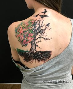 Half Dead -Half Alive Tree, Black and Grey with watercolor style flowers. Original design by Kylie Wild Heslop Tattoo Artist based in Canberra, Australia www.artgonewild.com.au