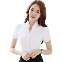 V-Neck White Shirts Short Sleeve Blouse New Fashion Tops Women Summer Style Office Ladies Formal Work Wear Casual Work Outfits, Classy Outfits, Blouse Styles, Blouse Designs, New Style Tops, Formal Blouses, Executive Fashion, Stylish Blouse Design, Work Chic