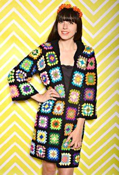 Vintage Rare Granny-Square Crochet Festival Cardigan