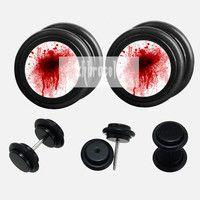 Blood splattered  plugs,fake Gauges,UV Acrylic  plugs,