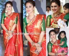 Sridevi Vijaykumar in a red Kanjivaram saree at Soundarya Rajinikanth's wedding Saree Wearing Styles, Saree Styles, Fancy Blouse Designs, Bridal Blouse Designs, Indian Bridal Sarees, Indian Beauty Saree, Red Saree Wedding, Gold Silk Saree, Green Saree