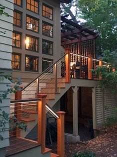 Deck Skirting Ideas - Surf photos of Deck Skirting. Find concepts as well as ideas for Deck Skirting to include in your personal home. Outdoor Deck Lighting, Outdoor Stair Railing, Deck Stairs, Deck Railings, Dock Lighting, Landscape Lighting, Cable Deck Railing, Aluminum Railings, Cool Deck