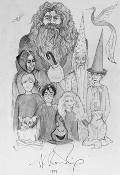Drawing done by hand in 1999 by JKR. Look Hermione is awkward and has huge teeth and no one remembers!