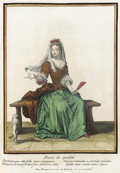 Recueil des modes de la cour de France, 'Dame de Qualité'  Henri Bonnart (France, 1642-1711)  France, Paris, 1682-1685, bound 1703-1704  Prints  Hand-colored engraving on paper