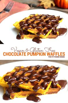 Perfect for a cozy fall breakfast, these easy to make gluten free and vegan chocolate pumpkin waffles are satisfying with just the right amount of sweet and spice!  Find the full recipe on TheFitFoodieMama.com