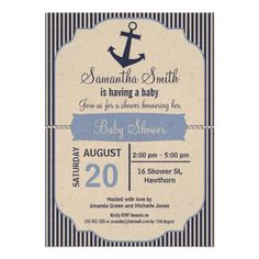 Nautical Baby Shower Invitation For Boy