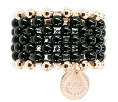 Love from Venus Black Onyx and Rose Gold Elasticated Ball Cuff on www.lilyandmitchell.com.au