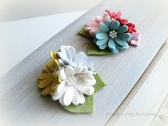 Felt Hair Clip - Spring Lily Pad Blossom Clip Brooch Clip or Headband - Girl Baby Infant Lady Photoprop Accessory