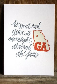 Georgia Letterpress Print Limited Edition by 1canoe2 on Etsy, $16.00