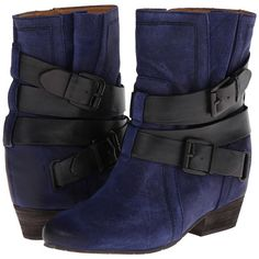 Naya Fisher Hidden Wedge Boot (Dark Blue Oiled Suede/Black Leather)... ($110) ❤ liked on Polyvore featuring shoes, boots, wedges, blue, wedge boots, leather boots, faux suede boots, black leather boots and blue suede boots