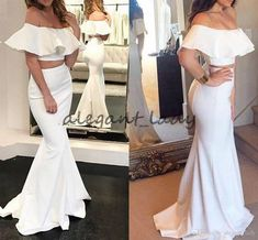 Cheap Two Pieces Prom Dresses Long 2018 Sexy Off The Shoulders Mermaid Evening Gowns Satin Formal Party Dress Vestidos De Fiesta Overskirt Evening Dress Yousef Aljasmi Occasion Prom Dress Online with $109.72/Piece on Alegant_lady's Store | DHgate.com