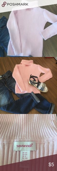 4T pink turtleneck sweater. 4T pink turtleneck sweater. Shown with 4T Gap jeans n Osh Kosh sandals. All sold in my closet! Shirts & Tops Sweaters