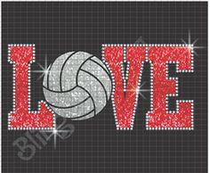 Love Volleyball Glitter Vinyl Rhinestone Shirt Download #blingartusa #siserna…