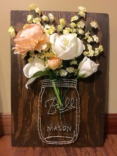 Twenty fifth attempt at string art: Mason jar with flowers