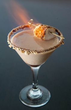 Flaming S'more martini! Aw yeah, woot woot!