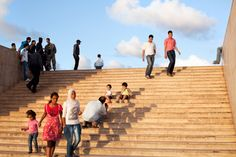 The afternoon crowd on the steps leading to the Hassan II Mosque, Casablanca.