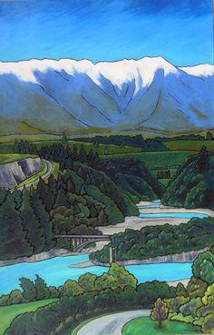 Rakaia Gorge by Wendy Leach Abstract Landscape, Landscape Paintings, Landscapes, New Zealand Landscape, New Zealand Art, Nz Art, Maori Art, Nature Drawing, Design Art
