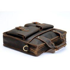 """Vintage Handmade Crazy Horse Leather Briefcase / Satchel / Messenger / 11"""" MacBook or 12"""" Laptop Bag"""