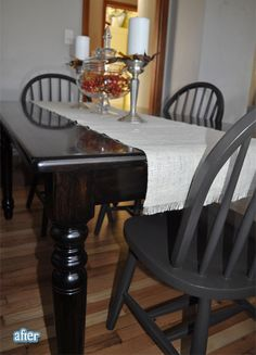 Paint the dining room chairs charcoal instead of white? (Found on betterafter.blogspot.com)