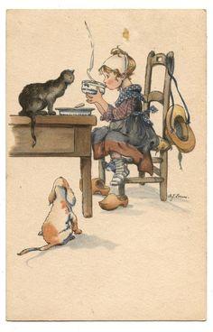 CHAT.CAT.CHIEN.DOG.PETITE FILLE.CHARMING GIRL.PETIT DEJEUNER.BREAKFAST