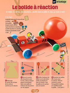 The jet car: a balloon, cardboard, plugs … And the car rolls! (an easy DIY for children, from Astrapi magazine n ° February Source by rigorrui Craft Activities For Kids, Science For Kids, Stem Activities, Games For Kids, Diy For Kids, Crafts For Kids, Balloon Cars, Balloons, Auto Party