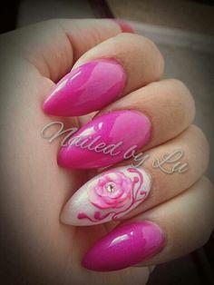 Pink  gel polish design over almond nails, 3D Sculptured rose and 3D gel artwork