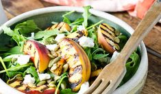 This Grilled Peach Salad is THE BEST! Peaches are grilled until smoky and served with arugula, blueberries, candied curry pecans, and a honey vinaigrette. Grilled Peach Salad, Grilled Peaches, Bbq Grill, Grilling, Best Salads Ever, Summer Side Dishes, Thing 1, Goat Cheese Salad, Summer Bbq
