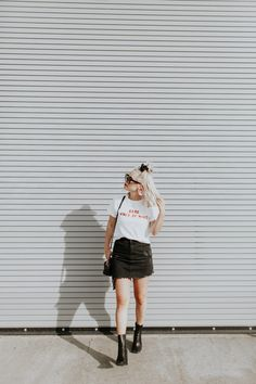 Graphic Tee Style - Babe State of Mind graphic tee fashion Blonde Hair Goals, Platinum Blonde Hair, Hair Questions, Blunt Haircut, Graphic Tee Style, Denim Overalls, Hair Journey, Denim Fashion, Her Style