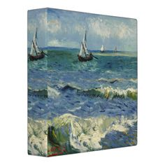 Seascape Les Saintes-Maries-de-la-Mer by Van Gogh 3 Ring Binders
