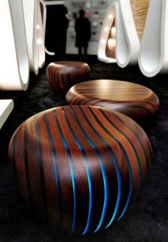 Ethnic Low Table and Stool Design for Hospitality Interior Furniture, Bright Wood Series by Giancarlo Zema