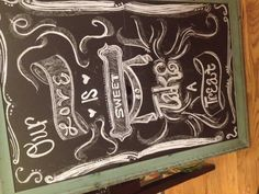 This is my first try at wedding chalkboard art! -Abby