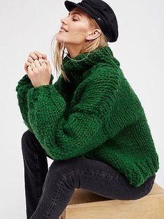Her Turtleneck   Get cozy in this chunky turtleneck sweater hand knit in the USA. Drapey and effortless shape.